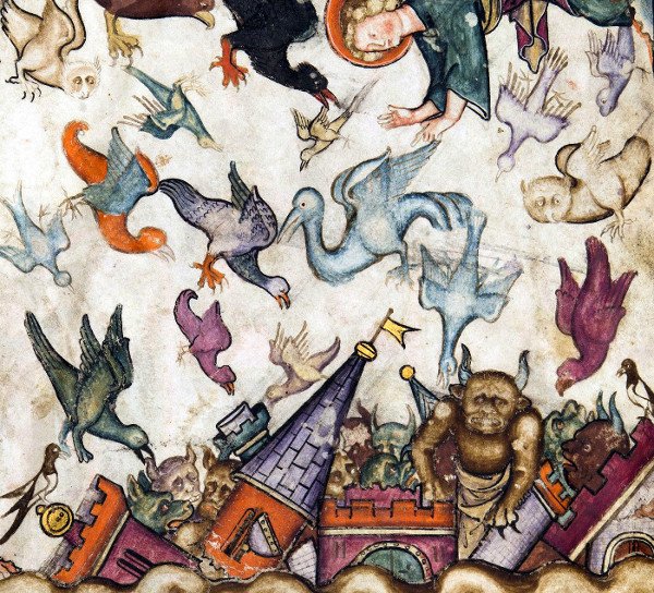hateful birds - Revelation 18:1-2: And after these things I saw another angel come down from heaven, having great power; and the earth was lightened with his glory. And he cried mightily with a strong voice, saying, Babylon the great is fallen, is fallen, and is become the habitation of devils, and the hold of every foul spirit, and a cage of every unclean and hateful bird. Apocalypse, Normandy ca. 1330